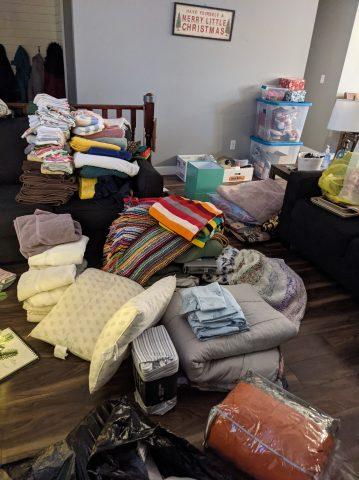 Harrington took it upon herself to organize the many essential items donated to help a family in need.